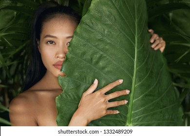 Beauty face. Woman model with natural makeup and healthy skin behind green leaf plant. Portrait of beautiful asian girl with nude nails and big lips in tropical nature