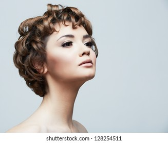 Beauty face woman portrait.  Young beautiful model. Short hair.