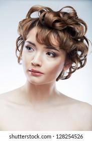 Beauty face woman portrait.  Young beautiful model. Short hair.