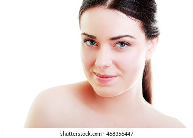 beauty face of young beautiful woman with health clean skin isolated on white background