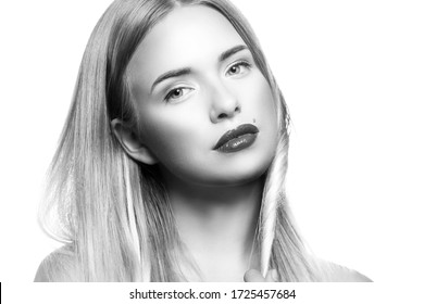beauty face, young fashion model woman, pefect skin, bright make-up,  blonde hair. Monochrome