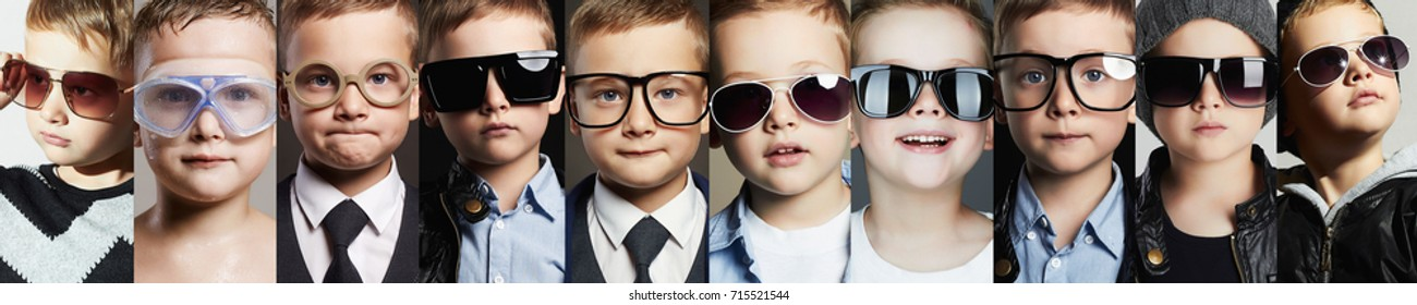 Beauty fashion collage.Faces of children in glasses and sunglasses.fashion kids