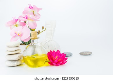 Beauty and fashion concept with spa set isolated on white background. Close up of aroma therapy for wellness center, Beautiful composition of spa treatment and massage, Towels, Cosmetic Pattern.