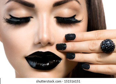 Beauty Fashion Model Girl With Black Make Up Long Lushes Trendy Caviar