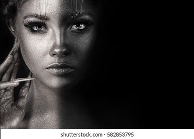 Beauty Fashion model girl black and white portrait, woman portrait with perfect makeup and manicure. Beauty trends