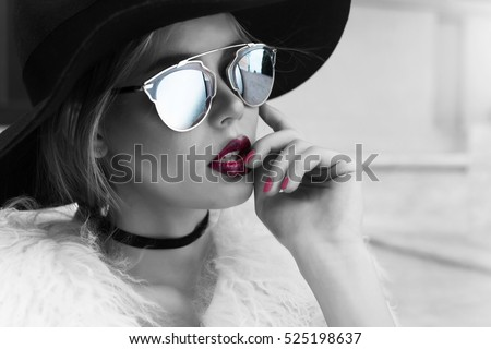 Beauty Fashion Model Girl Black White Stock Photo (Edit Now ... 7bbd85b09609