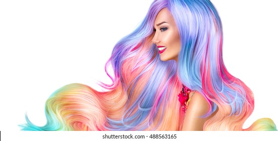 Beauty Fashion Model Girl with Colorful Dyed Hair. Colourful Long Hair. Portrait of a Beautiful Woman with Colorful Dyed Hair, professional hair Coloring. Colouring rainbow hair, curly long haircut