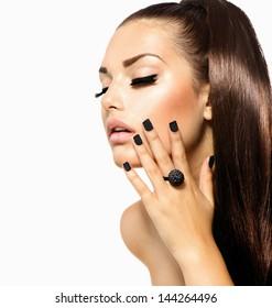Beauty Fashion Model Girl with Long Healthy Hair, Long Lushes. Fashion Trendy Caviar Black Manicure. Nail Art