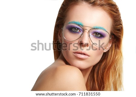 52a143e4db4 Beauty Fashion model girl wearing stylish glasses. Sexy woman portrait with  creative makeup and trendy