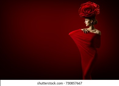 Beauty Fashion Model and Rose Flower Hairstyle, Elegant Art Woman Red Dress, Roses Crown on Head