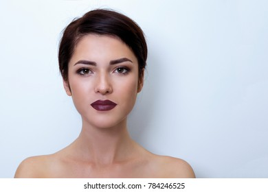 Beauty Fashion Model Woman in bright background , portrait,  lady with black lips.