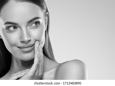 Beauty female monochrome woman face clean skin cosmetic concept