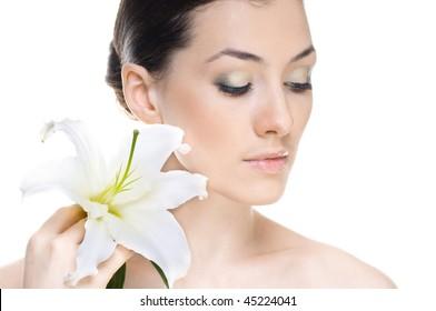 beauty flower girl on the white background