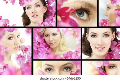 beauty flower woman. ( lot images collage )