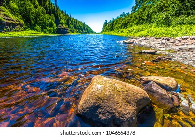 Beauty forest river flow landscape - Shutterstock ID 1046554378