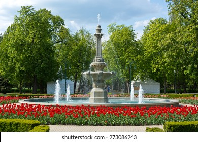 Beauty fountain in Ersek Kert park in Eger, Hungary