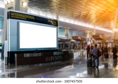 beauty  full blank advertising billboard at airport background large LCD advertisement