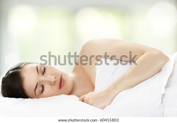 beauty girl in bed, just wake up