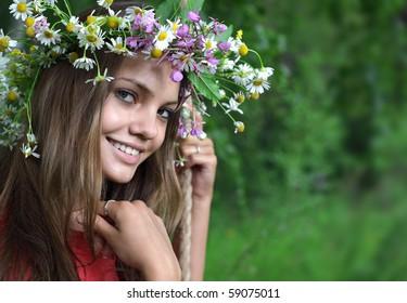 beauty girl with flower diadem