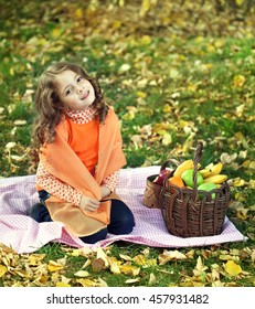 beauty girl with fruits outdoors