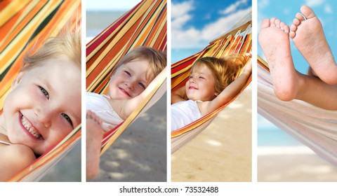 beauty girl in hammock on the sea beach