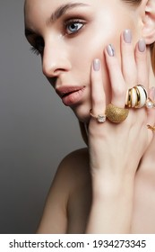 Beauty girl with jewelry rings. beautiful woman portrait