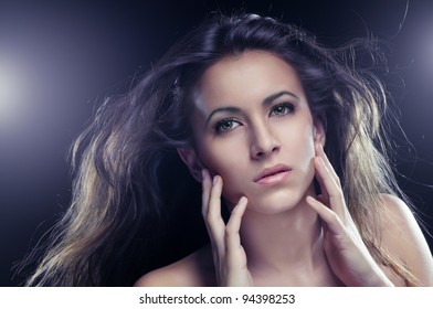 a beauty girl on the dark background