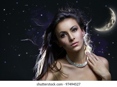 a beauty girl on the night background