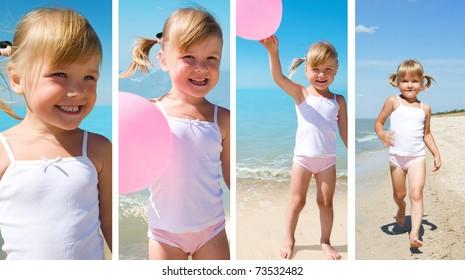 beauty girl on sea beach under blue sky