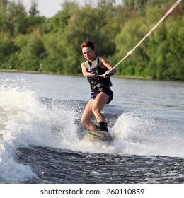 beauty girl on wakeboard
