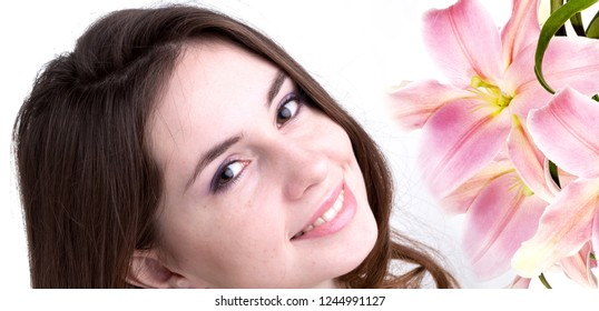 beauty girl and pink lily flowers