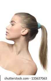 Beauty girl with ponytail
