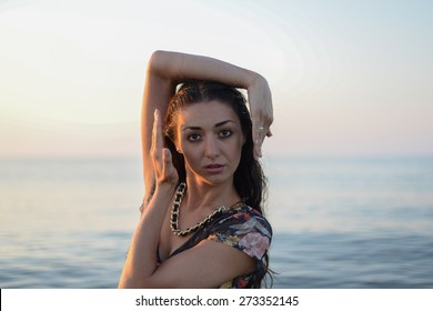 beauty girl portrait on a background of the sea