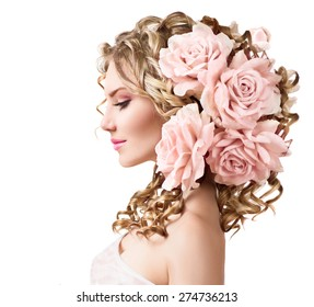 Hair flowers images stock photos vectors shutterstock beauty girl with rose flowers hairstyle isolated on white background fantasy girl portrait with pink mightylinksfo