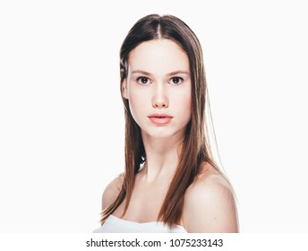 Beauty girl smiling healthy skin care face close up isolated on white