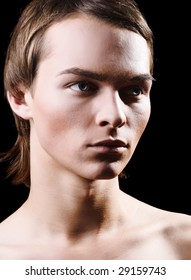 Beauty Glamour Young Man over White