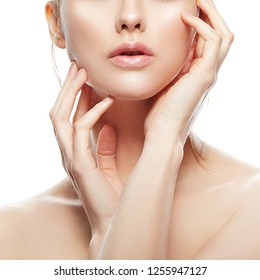 Beauty grl part of face. Lips, hands and shoulders. Clean skin. Skincare facial treatment concept. White background