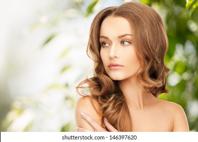 beauty, hair and eco cosmetology - beautiful woman with long hair