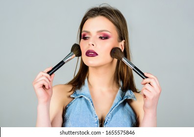 beauty hairdresser salon. Lipstick and eyeshadow. sexuality. skincare cosmetics. fashion makeup visage. sexy woman with professional make up brush. sensual woman with long hair, style. beauty salon.