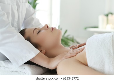Beauty and healthcare. Woman in spa salon