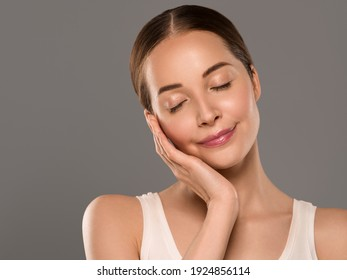 Beauty healthy skin woman face beautiful female