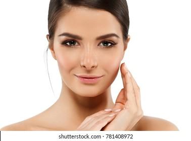 Beauty healthy skin woman face portrait brunette female skin care concept
