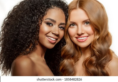 Beauty High fashion models. Beautiful tanned vogue girls, trendy makeup. Different ethnicity Women faces on withe background. Gorgeous Multi-ethnic fashionable ladys. Caucasian and African on white