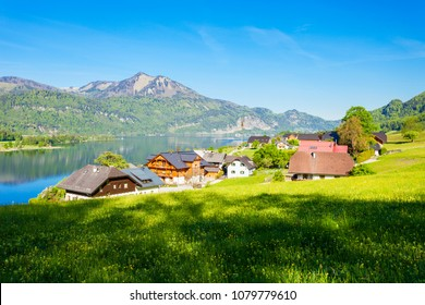 Beauty houses near the Wolfgangsee lake in Austria. Wolfgangsee is one of the best known lakes in the Salzkammergut resort region of Austria.