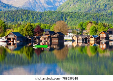 Beauty houses at Wolfgangsee lake in Austria. Wolfgangsee is one of the best known lakes in the Salzkammergut resort region of Austria.
