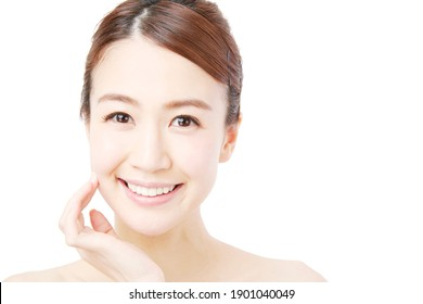 Beauty image, Asian woman isolated on white background