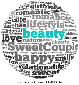 Beauty info-text graphics and arrangement concept on white background (word cloud)