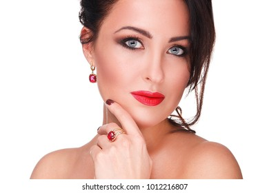 Beauty, jewelry, people and luxury concept - beautiful asian woman or bride with earring, finger ring and pendant.