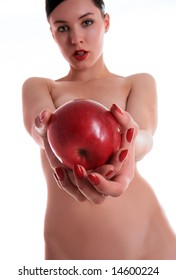 a beauty lady is giving red big apple