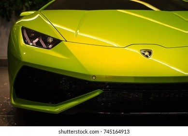 The beauty in Lamborghini :Green Lamborghini Huracan Taken on March 12  2016 at parking garage. Las Vegas, Nevada